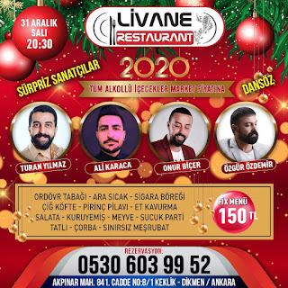 Livane Restaurant Ankara Yılbaşı Programı 2020 Menüsü