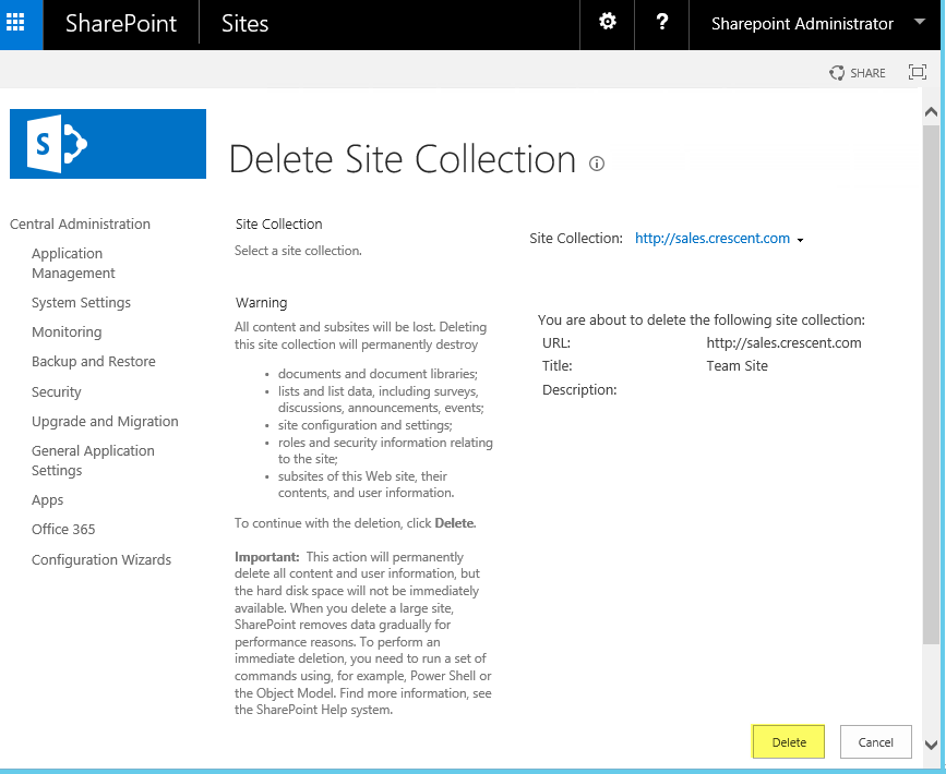 delete host named site collection powershell
