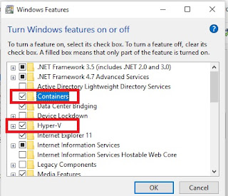 Windows features page to enable Containers and Hyper V