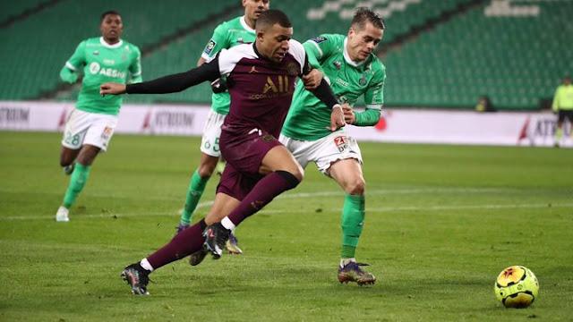 ملخص مباراة باريس سان جيرمان وسانت إيتيان (1-1) اليوم في الدوري الفرنسي