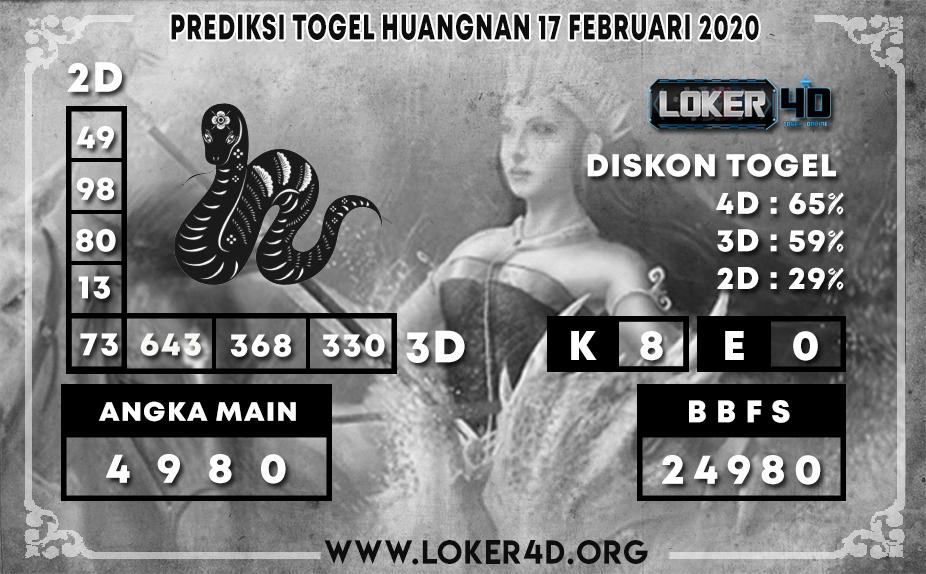 PREDIKSI TOGEL HUANGNAN LOKER4D 17 FEBRUARI 2020