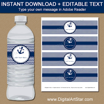 nautical water bottle labels for wedding or birthday