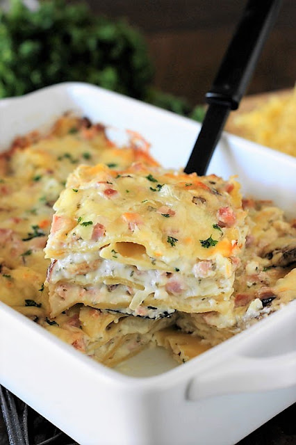 Ham & Cheese Lasagna Image ~ Monterey Jack white sauce with chopped ham and mushrooms make for a deliciously different twist on classic lasagna.