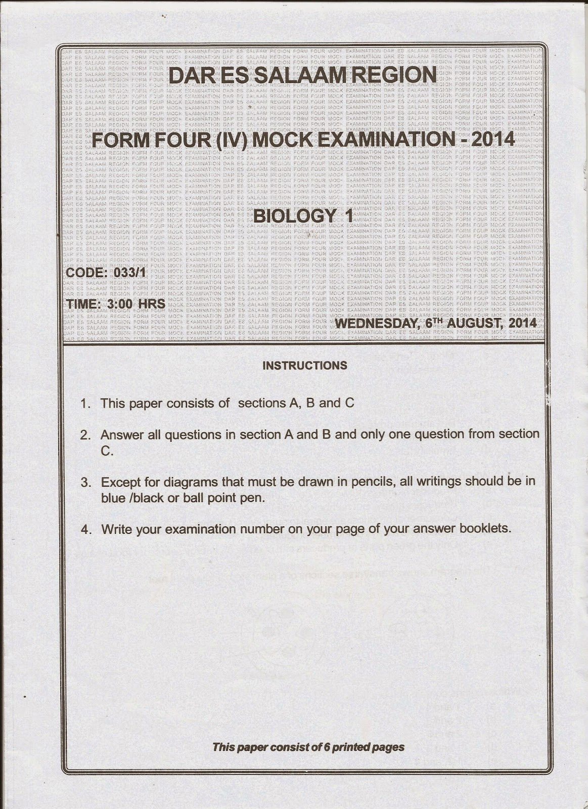 MWL JAPHET MASATU BLOG: O33 / 1 BIOLOGY 1 FORM FOUR { IV