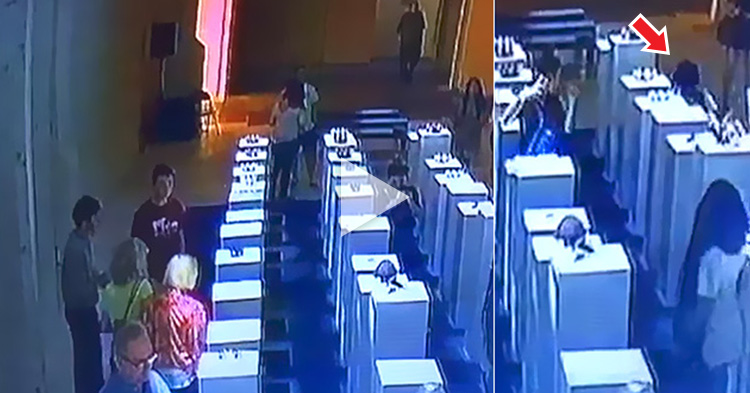 """WATCH: Woman accidentally destroys 1 Million worth of artwork because of """"selfie"""""""