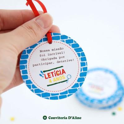 detetives predio azul tag agradecimento lembranca personalizado