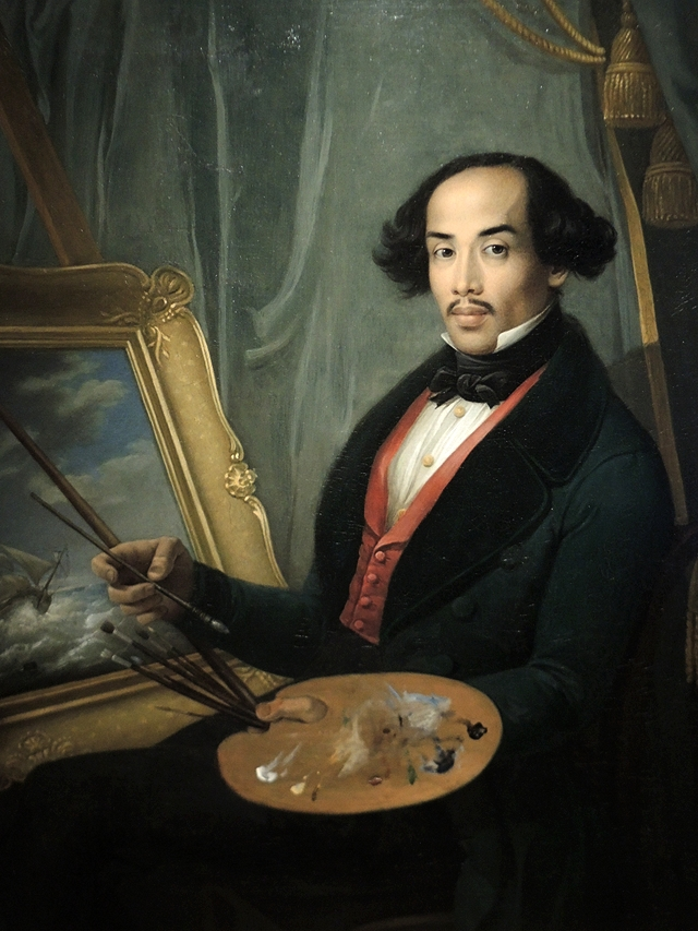 portret van Raden Syarif Bustaman Saleh door Schreuel