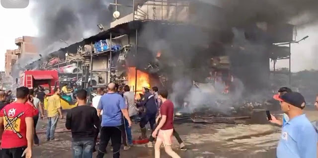 حريق هائل أسفل محور صفط اللبن