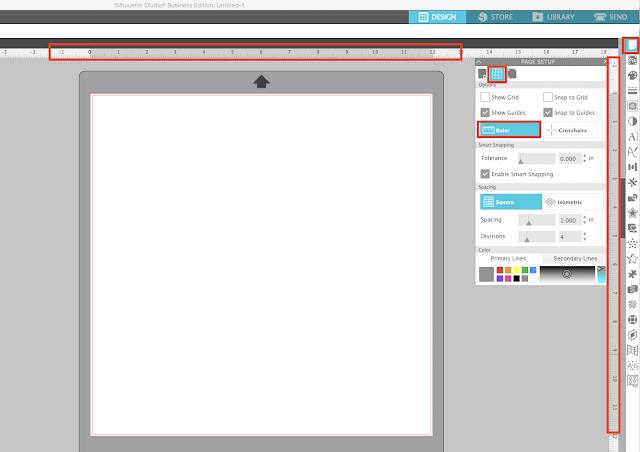 silhouette studio, designer edition, rulers, page setup panel
