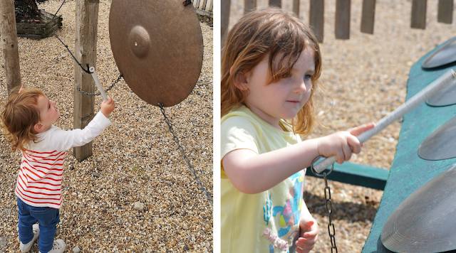 Images taken at Tattershall Farm Park show 18 month old girl using a stick to bang a gong. Next image shows the same girl at 3 years old using a stick to play a brightly coloured outdoor xylophone