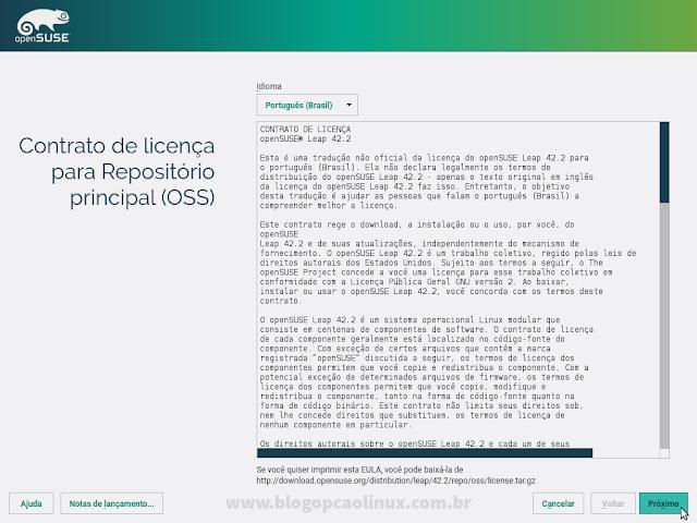Contrato de Licença do openSUSE Leap 42.2, você deverá aceitá-lo para usar o sistema