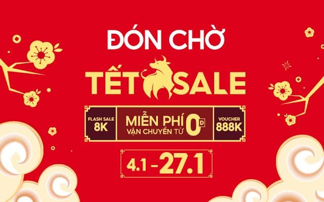 Shopee Sale Tết 2021 Voucher 8k 88k 888k + Free Ship 0đ