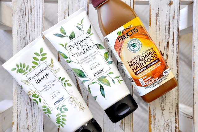 Odżywka do włosów o niskiej porowatości Anwen Emolientowa Akacja, Odżywka do włosów o średniej porowatości Anwen Proteinowa Zielona Herbata, Wygładzający szampon do włosów Garnier Fructis Macadamia Hair Food