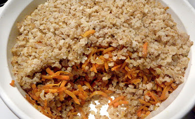 Casserole dish of Toasted Rice and Carrot Pilaf
