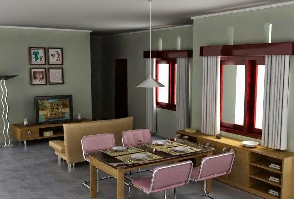 Ruang keluarga minimalis menyatu dengan ruang makan