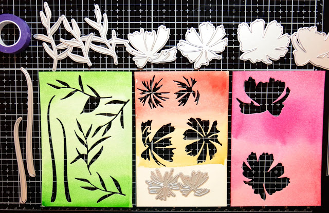 Water coloring floral Layering die cuts