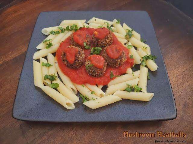 images of Mushroom Meatballs / Vegetarian Mushroom Meatballs / Meatless Meatballs