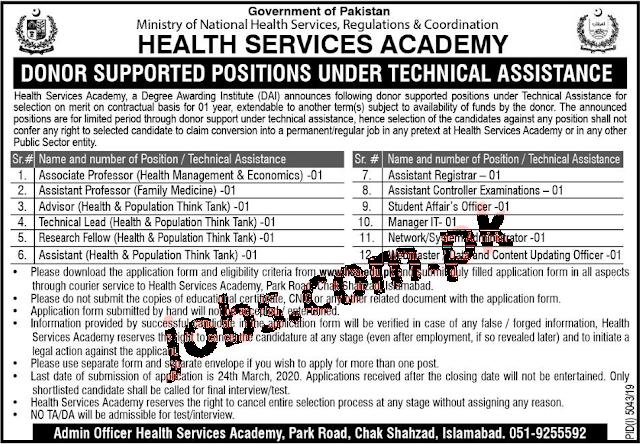 Health services Academy Govt Jobs 2020