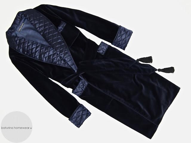 Men's blue velvet robe cotton dressing gown quilted silk