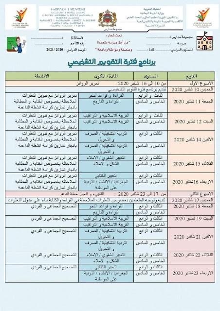برنامج فترة التقويم التشخيصي للمستويات الثالث و الرابع و الخامس و السادس مادة اللغة العربية