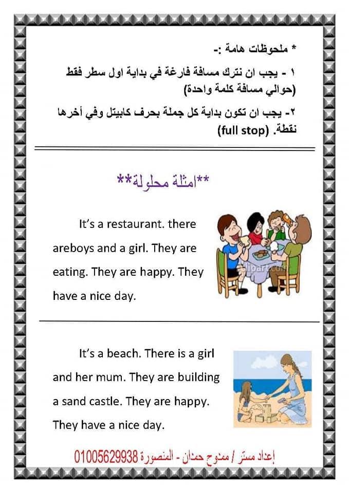 لغة انجليزية   طريقة مبسطة لكتابة البراجراف لطلاب ابتدائي 4 ورقات أ/ ممدوح حمدان 4
