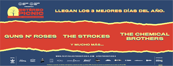 Festival-Estéreo-Picnic-2020-Guns N'-Roses-The-Strokes-The-Chemical-Brothers-line-up