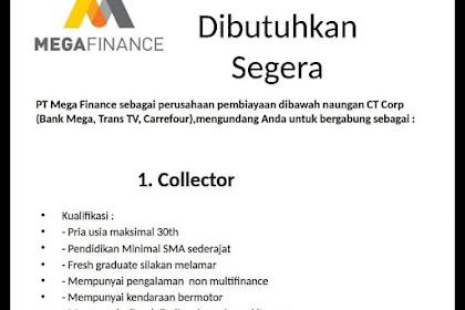 Lowongan Kerja Collector PT MEGA FINANCE Tasikmalaya