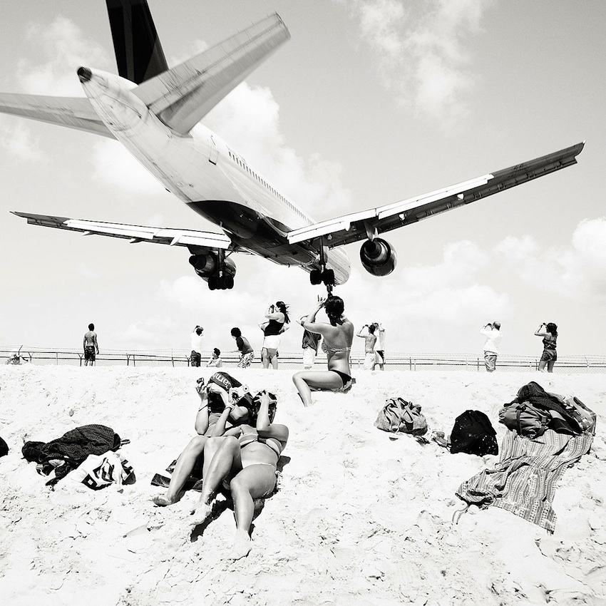 Josef Hoflehner photograph of low planes over beach