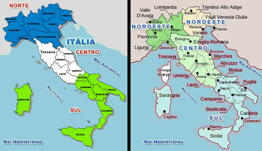 mapa de italia por regiões Mapa Italia | Regiões e Capitais mapa de italia por regiões