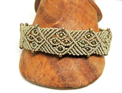 Gothic Tracery Micro macrame bracelet by Sherri Stokey of Knot Just Macrame.