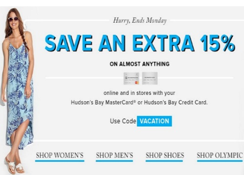 Hudson's Bay Extra 15% Off Promo Code
