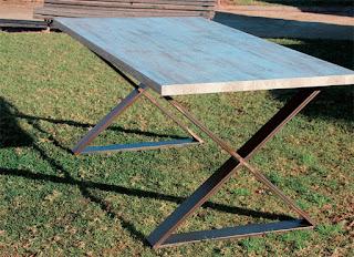 mesa comedor grande de forja y madera maciza
