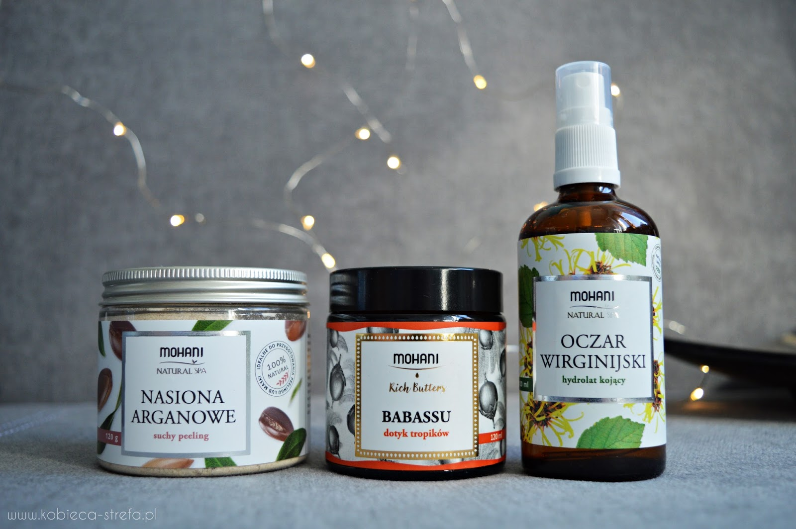 Mohani - oczar wirginijski, peeling nasiona arganowe i masło babassu
