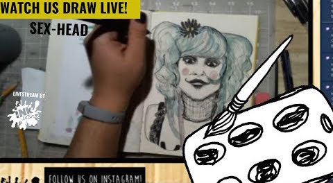 Drawing Sex-Head from Rob Zombie's 31 - Come Hang Out - Live Time Lapse!