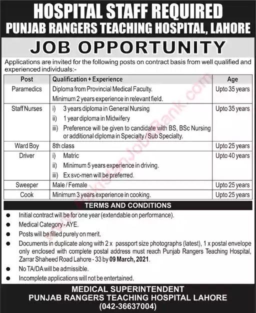 Latest Jobs in Pakistan Punjab Rangers Teaching Hospital Lahore Jobs 2021