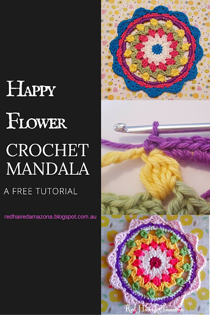 happy flower crochet mandala a free tutorial by Red Haired Amazona