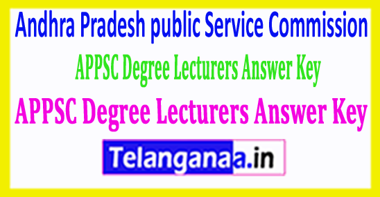 APPSC Degree Lecturers Answer Key 2018 Download