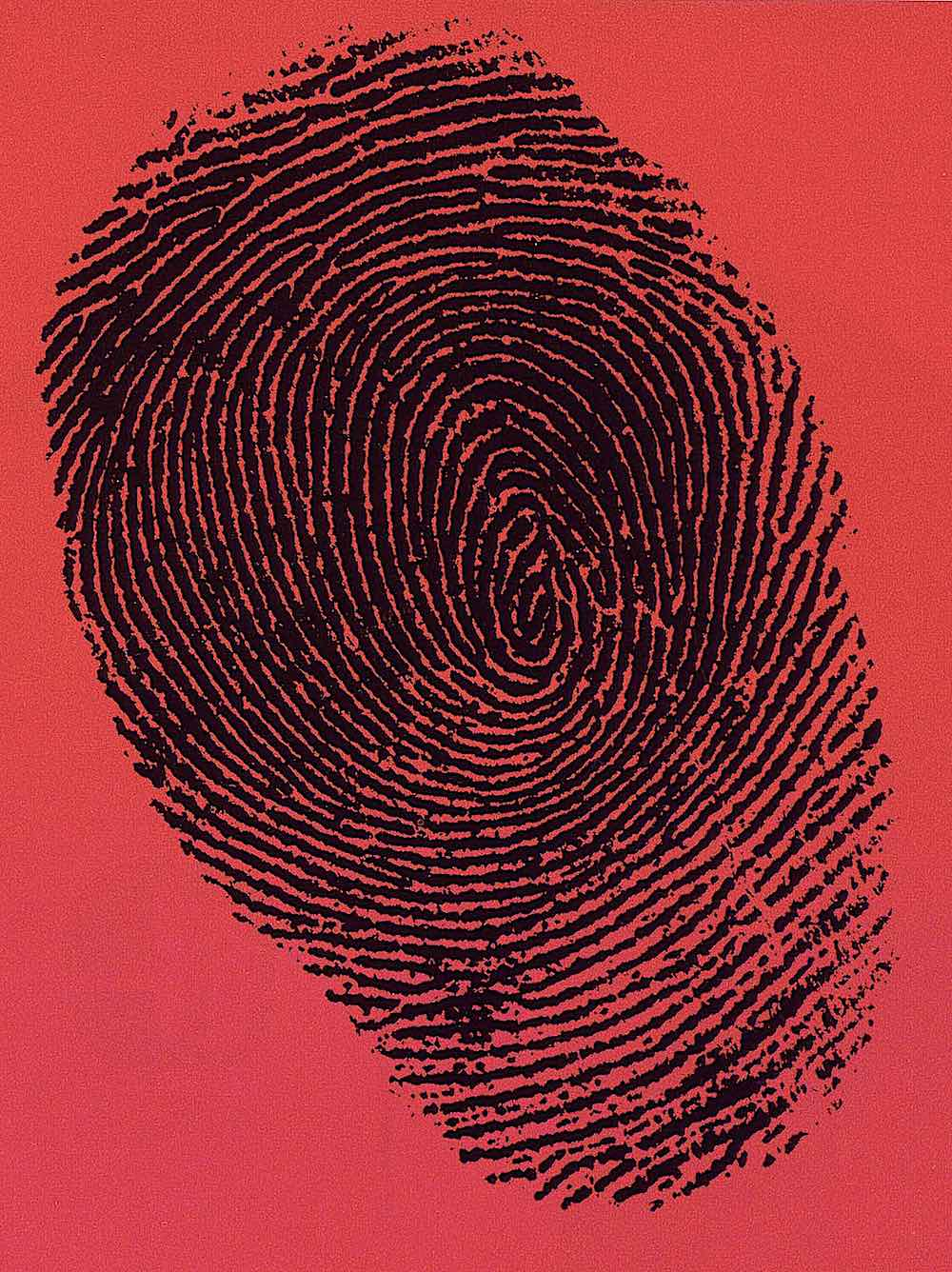 a 1960 fingerprint graphic on red