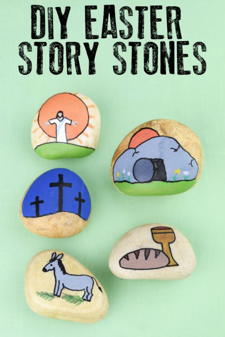 Easter story rock painting ideas