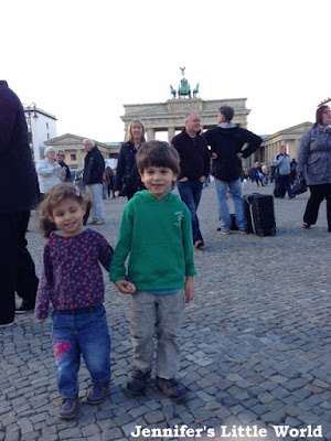 Small children at the Brandenburg Gate, Berlin