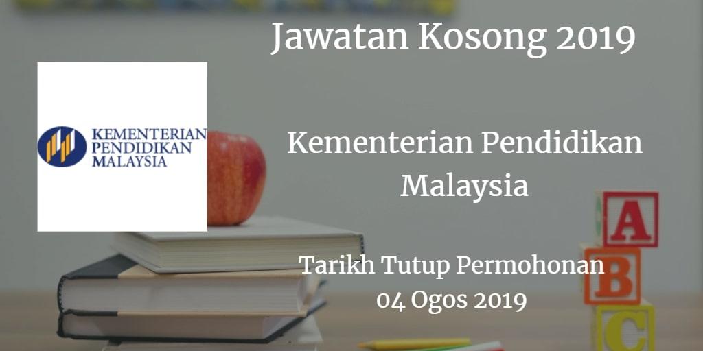 Jawatan Kosong Kementerian Pendidikan Malaysia 04 Ogos 2019