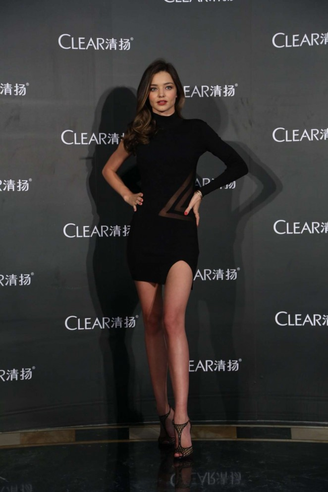 Miranda Kerr shows off legs at the Clear promotional event in Shanghai