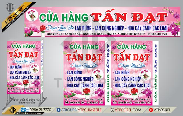 Bảng hiệu cửa hàng Hoa Lan rừng nền hồng