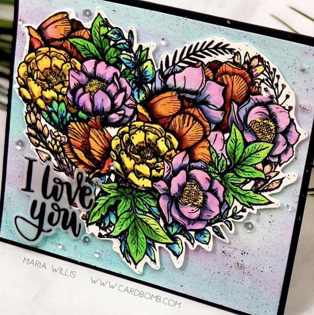 #cardbomb, #mariawillis, #simonsaysstamp, #watercolor, #stamp, #ink, #paper, #papercraft, #craft, #iloveyou, #copicmarkers, #flower, #heart, #handmade, #art, #diy, #color, #cardmaker, #cardmaking,