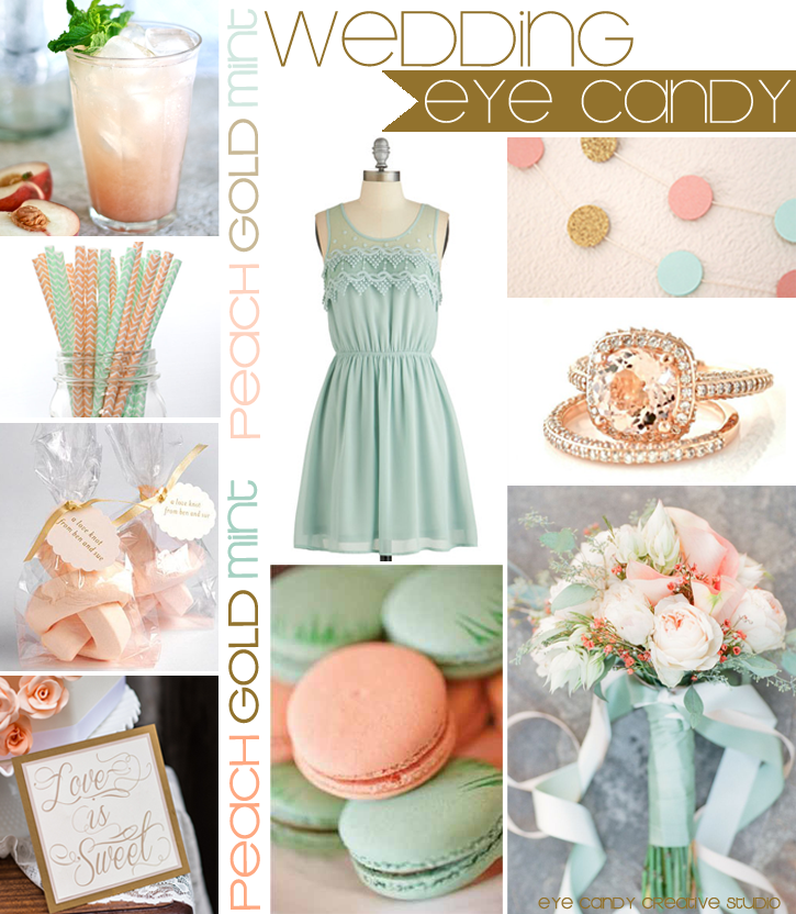 mint & gold, peach & mint wedding, inspiration board, peach & mint, wedding