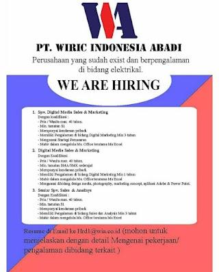 3 Posisi di PT Wiric Indonesia Abadi