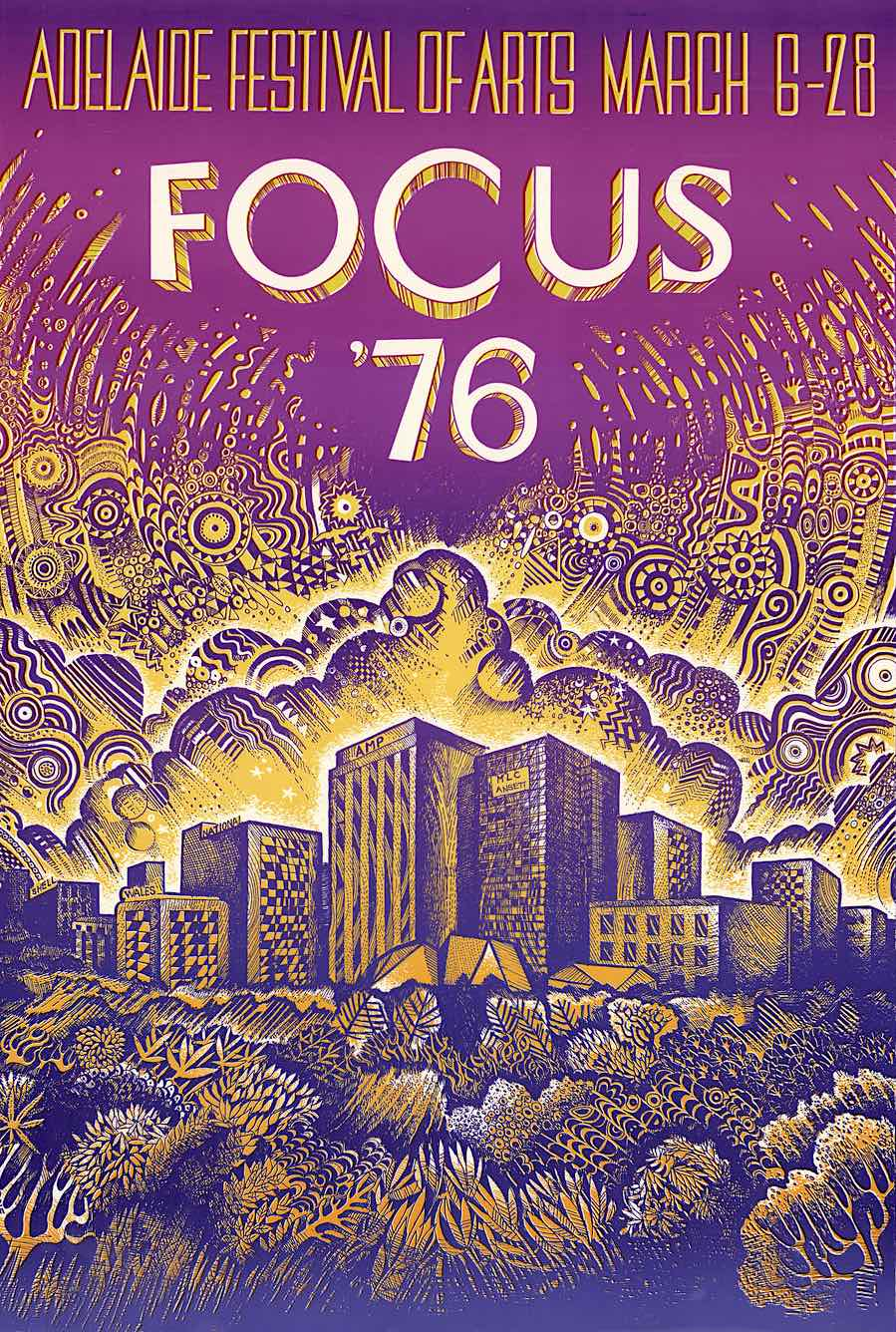 a 1976 purple and amber poster by Jim Cane, Adelaide Fesival Of Arts, Focus 1976