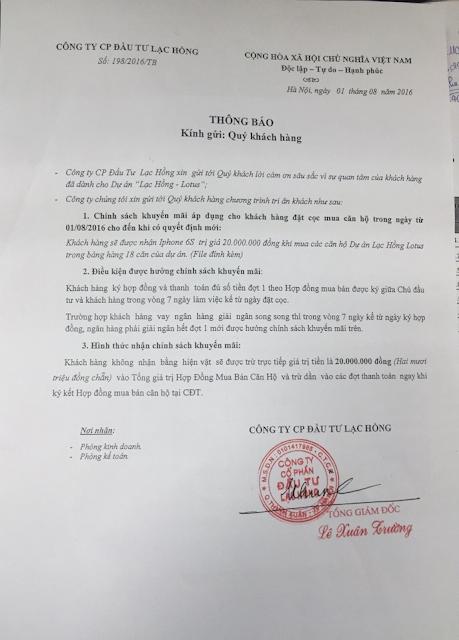 Chính sách khuyến mãi dự án Lạc Hồng Lotus