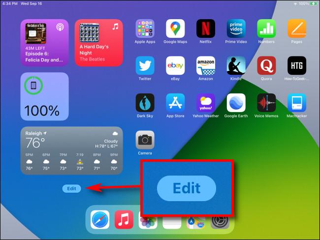 """في الجزء السفلي من عرض اليوم على الشاشة الرئيسية لجهاز iPad ، انقر فوق الزر """"تحرير""""."""