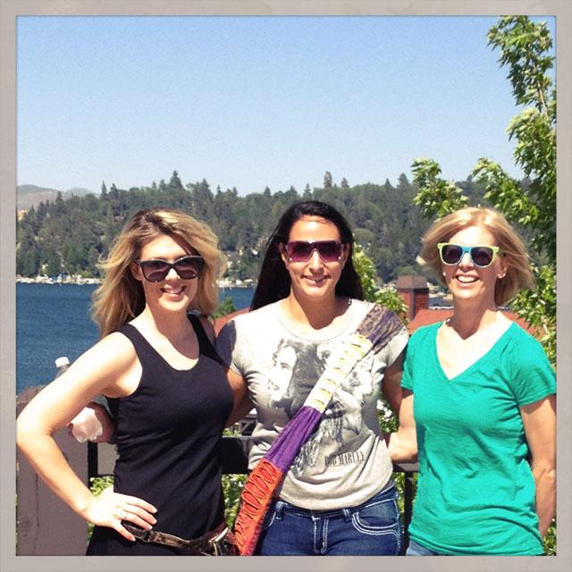 family photo at the lake